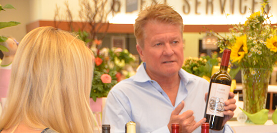 Southern California radio host Peter Dills hosting a wine tasting.